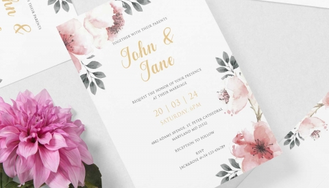 Wedding invitation printed with the Flat Bed Foil Printer