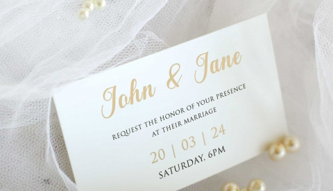 Wedding card printed with the Flat Bed Foil Printer