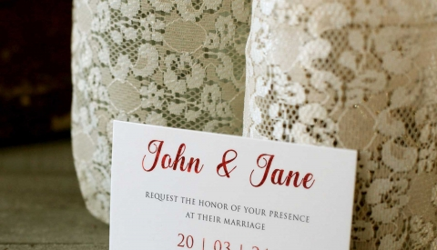 Wedding card printed with red foil